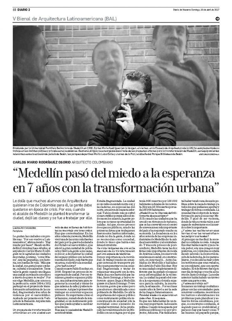 Entrevista a Carlos Mario Rodríguez en Diario de Navarra